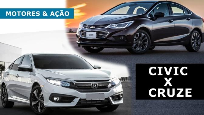 Novo Civic ou Novo Cruze: Qual o seu preferido (Vídeo – Motores & AÇÃO)?